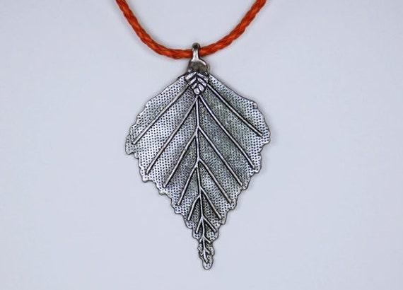 Necklace silver leaf on orange leather strap orange jewelry Tree of life nature steampunk optics