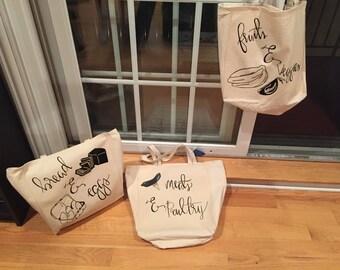 Tote Bag Set of 3  Original Grocery Market Tote Bags