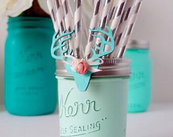 Painted Mason Jars / 1 Half Pint / Centerpiece / Baby Shower / Party Decor / Vase / Rustic Home Decor / Part supplies / Mason Jar