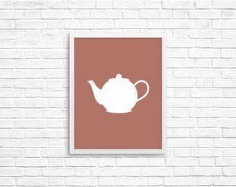 Teapot Silhouette,  8x10 Art Decor Digital Print