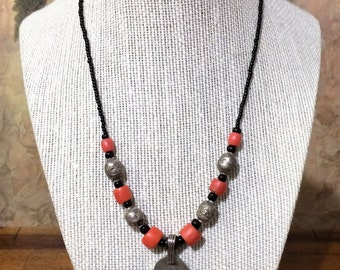 17 in. Red Coral and Silver Necklace.
