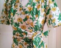 Handmade 1940's Blouse shirt top wrap ww2 landgirl Made To Measure