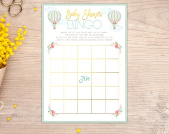 Baby Shower Bingo Game, Hot Air Balloon, Baby Shower Games, Up up and Away, Printable, Gender Neutral, Baby Shower, Instant Download