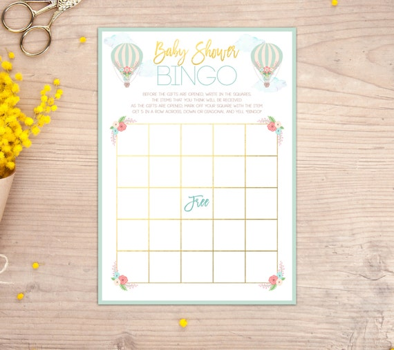 baby shower bingo game hot air balloon baby shower games up up and
