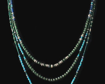 Very long blue/green necklace, double strand, antique trade beads and Bali silver