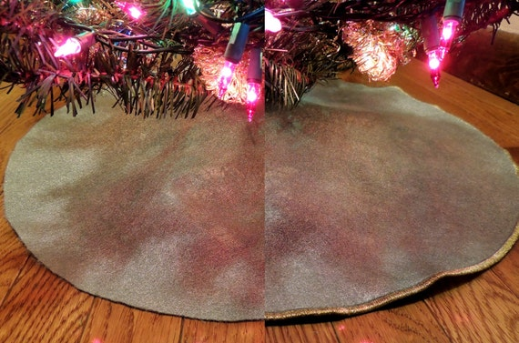 Items Similar To Silver Christmas Tree Skirt Gold Edging