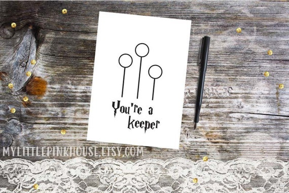 printable geeky valentine harry potter you're a keeper