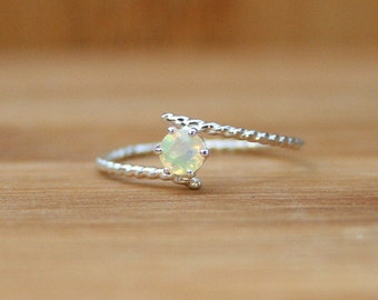 Opal Ring Dainty Silver Solitaire Rings Gold Jewelry Handmade
