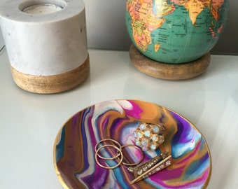Marbled Ring Dish (Blue, Gold, Purple)
