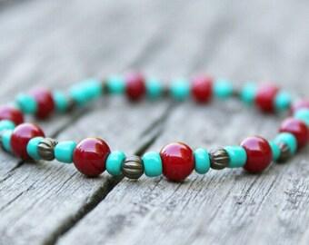 Boho Bracelet, Red and Aqua Bracelet, Hippie Bracelet, Bead Bracelet, Stretchy Bracelet,  Elastic Bracelet, Cute Bracelet, Bracelet