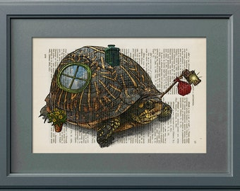 Vagabond Turtle - Home On The Backs, Hobo Turtle, Vintage Book Page Print, Dictionary Page Print