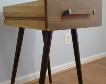 Mid Century Modern Side table End table made from Re purposed Vintage Alma Desk Company Tanker MCM Desk Drawers-Style #A9