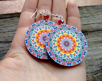 Polish folk earrings, pink mandala earrings, polish cutout, polish folk art, flower mandala