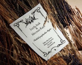50 Pieces Fabric Wedding Invitation - Cloth Wedding Invitation