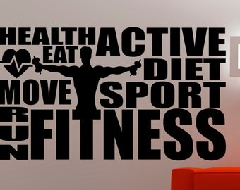 Sports Wall Art fitness wall decal gym stickers sports wall art fitness club