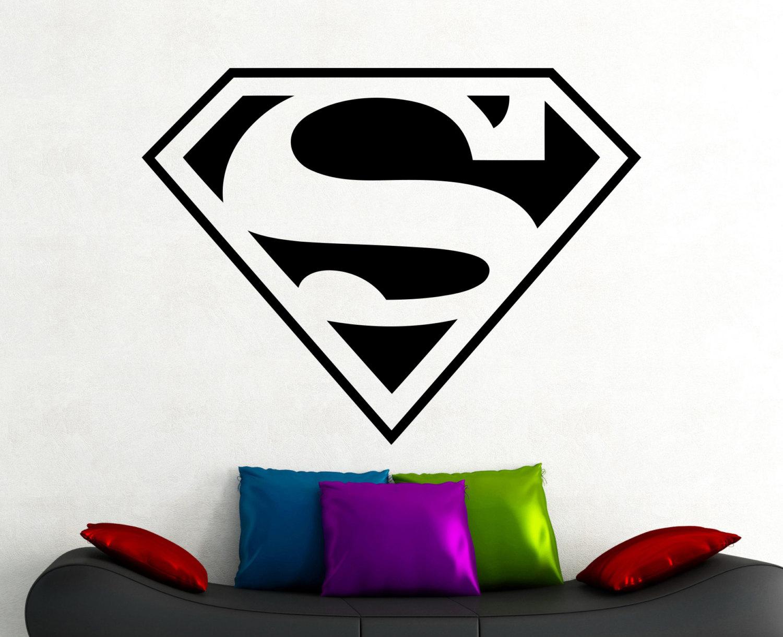 Superman logo decal wall sticker comics superhero living room for Superman wall decal