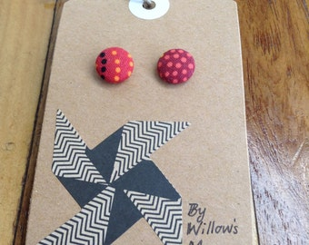 Fabric covered button earrings 12 mm