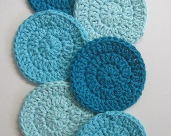 Crochet Cotton Facial Scrubbies - Bath Set - Gift Set - Set of 6 - Turquoise / Aqua / Blue / Teal - Facial Round - Scrubby - Makeup Remover