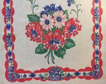 Vintage Dish Towel - 1930s - Red Blue Flowers