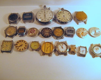 Set of 21 Vintage non working  watches 70s and 80s