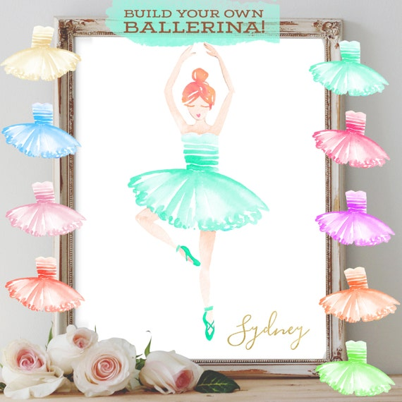 Girls Room Wall Art,Personalized Girls Room Decor,Dance Wall Art, Ballerina Decor,Ballerina Art,Ballerina Print,Dancer Print,Ballet Party