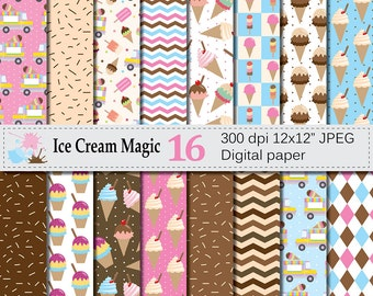 Ice Cream Digital Paper Set with Cones and Popsicles, Summer Digital Scrapbook Papers, Ice Cream Patterns, Instant Download