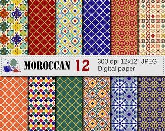 Moroccan Digital Paper Set,  Scrapbook Digital Papers, Ethnic, Tribal, Geometric Digital Papers, Instant Digital Download