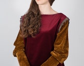 Velvet blouse with puffed sleeves