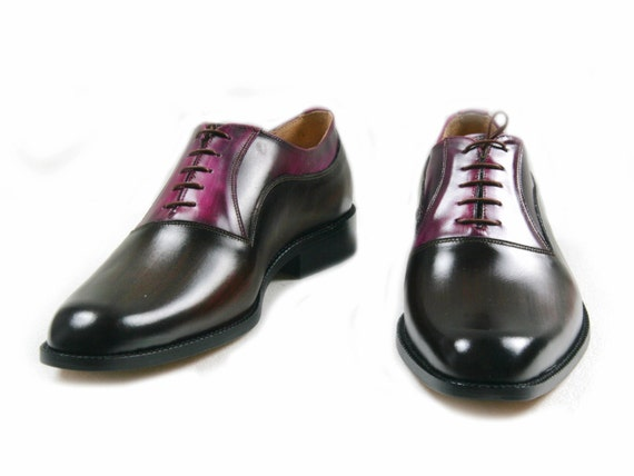 Leather men shoes, handmade, wood, purple, Oxford, hand painted, made in Italy