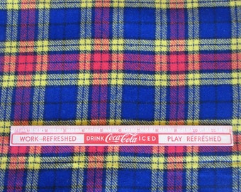 Vintage Wool Plaid Fabric in Red Blue and Yellow, 2 1/2 yards, Wool Yardage, Plaid Wool, Vintage Plaid Fabric, 1970s, Garment Fabric