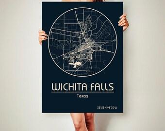 WICHITA FALLS Texas Map Wichita Falls Poster City Map Wichita Falls Texas Art Print Wichita Falls Texas poster Wichita Falls Texas