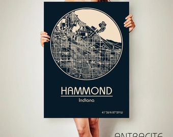 HAMMOND Indiana CANVAS Map Hammond Indiana Poster City Map Hammond Indiana Art Print Hammond Indiana poster Hammond Indiana map