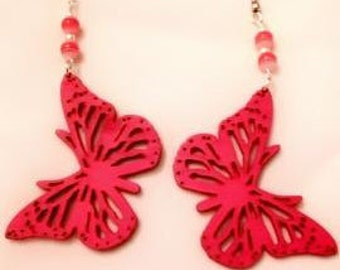 Wooden pink butterfly earrings