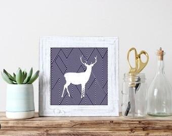 Striped Reindeer Art Print- Set of 2 Illustrations - Digital Download - Wall Art - Home Decor - Digital Art