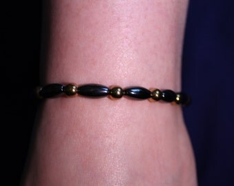 Magnetic Hematite Anklet Black and Gold