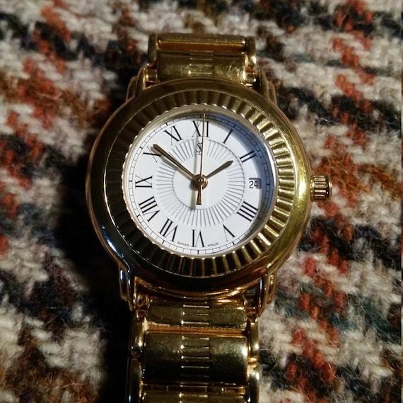 Ladies YSL Watch. Yves Saint Laurent Watch. Womens Gold Watch. Day/Date Watch. YSL Gold Watch. Ladies Watch. Womens Watch Present.