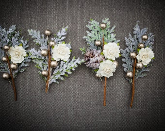 Rustic Sparkle Wedding Boutonniere