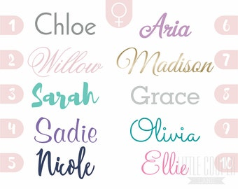 GIRLS Name Vinyl Wall Decal Sticker | Personalized Custom Name Decal | 5 Sizes | For Baby Nursery OR Kids Room_ID#1411