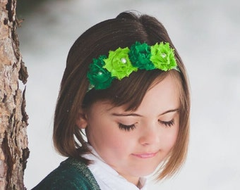 St Patrick's Day, Headband, Flower Headband, Green, Hair Flowers, Cute, Shabby Roses, Girls, Baby Girls, Teen Girl, Bow, Modern Kids, Infant