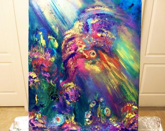 Island Mirage-Original Tropical Atmosphere Painting by Florida Artist, Modern Art, Ready To Hang