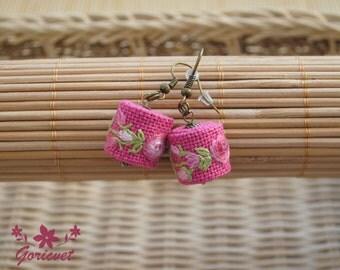 Pink rose drop earrings romantic earrings gift for girlfriend fuchsia fabric earrings hand embroidery floral earrings boho chic earrings