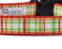 Red Plaid Dog Collar, red dog collar, green dog collar, yellow dog collar, striped dog collar, colorful dog collar