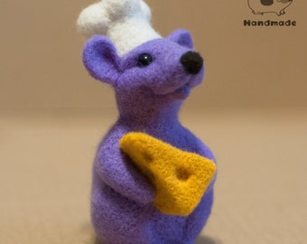 Mouse-cook, needle felted toy, felted mouse
