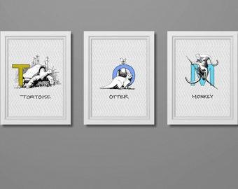 Nursery Custom ABC Wall Art. Animal Alphabet Art Prints.