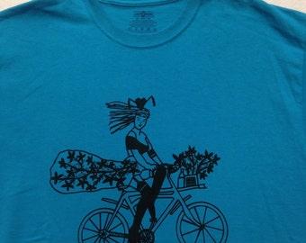 Bicycle Tee Shirt- Bike Tee Shirt- Bicycle Gift- Bike Gift- Women Cycling Tee- Women Bicycle Gift- Pin Up Tee- Burlesque Tee- Size X Large