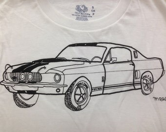Shelby Mustang Tee Shirt. Mustang Tee Shirt- Children's Gift- Car Tee Shirt- Muscle Car Tee- Classic Car Tee- Hand Drawn- Size Small