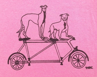Bike Tee Shirt- Pit Bull Tee Shirt- Greyhound Tee Shirt- Bike Gift- Pit Bull Gift- Greyhound Gift- Dog Rescue Tee- Woman's Tee- Hand Drawn