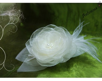 Hair flower bridal wedding Fascinator bridal ivory flower hair flower cream white ivory