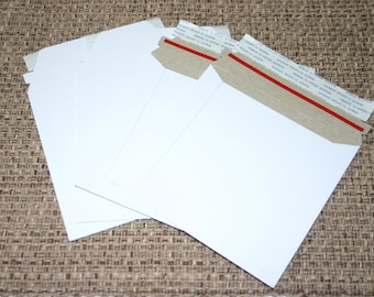 50 White 6x6 Rigid Stay Flat Self Sealing Lightweight Cardboard Envelopes Mailers For Photos Decals Stickers And More
