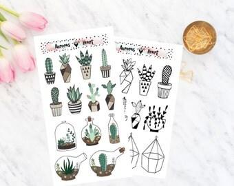 Succulent doodle planner stickers